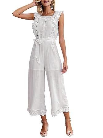 d41e6e1f41987 BerryGo Women's Elegant Sleeveless Ruffle Wide Leg Cotton Jumpsuit