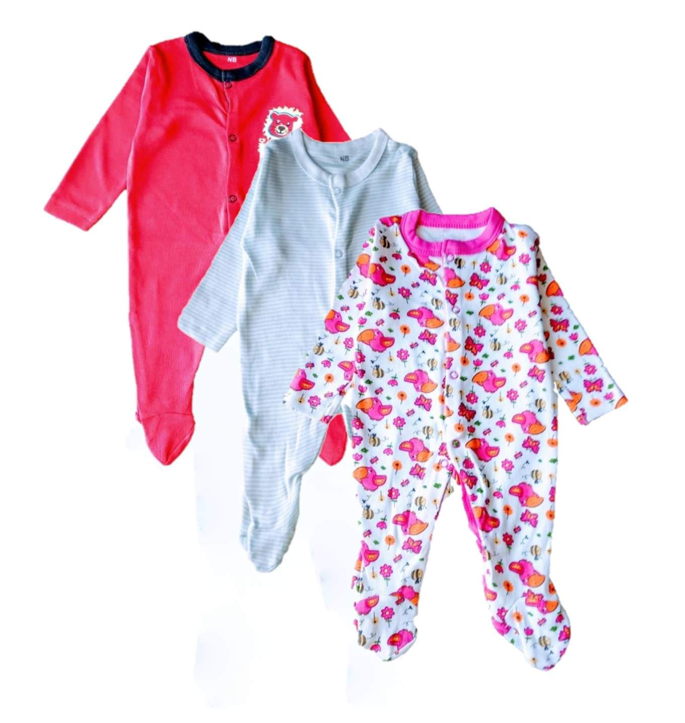 66767e733b7a Rompers for Boys n Girls 0-3 Months Baby-Suit-Dress Combo Pack of 3 ...