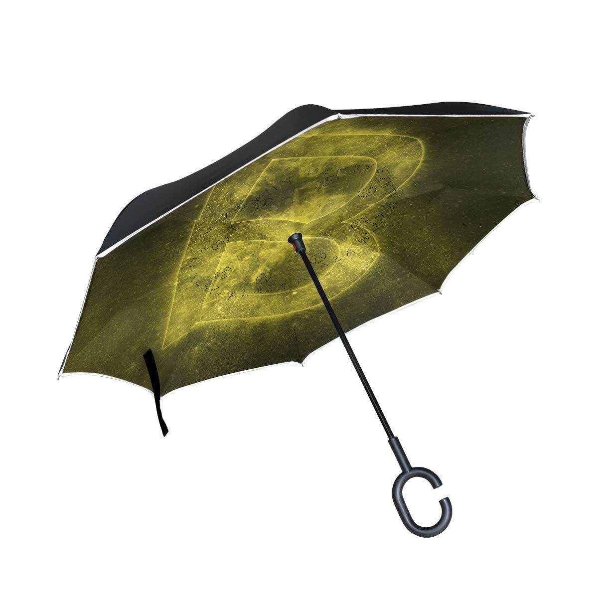 逆さ傘 2層 逆さ傘 文字B 防風 車 雨 アウトドア C型ハンドル   B07GDLHXHZ