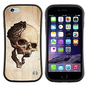 "Pulsar iFace Series Tpu silicona Carcasa Funda Case para Apple iPhone 6+ Plus / 6S+ Plus (5.5 inch!!!) , Cráneo Rose Metal Rock Roll Music Beige"""