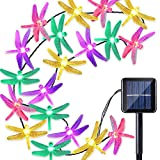 Qedertek Dragonfly Solar String Lights, 20ft 30 LED Waterproof Fairy Decoration Lighting for Indoor/Outdoor Home, Patio, Lawn, Garden, Party, Wedding, Seasonal Holiday, and Christmas (Multi Color)