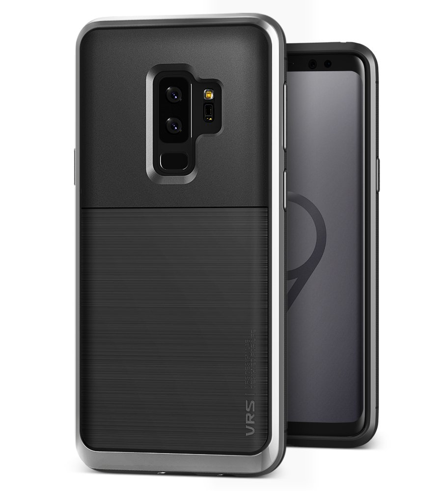 VRS DESIGN Galaxy S9 Plus Case, Dual Layer Protective Phone Case [Steel Silver] Premium Shockproof TPU Silicon Heavy Duty PC Bumper Cover for Samsung Galaxy S9 Plus [High Pro Shield]