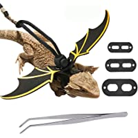 AUBBC Lizard Leash, Adjustable Bearded Dragon Harness with Reptile Feeding Pliers, Soft Leather Reptile Leash with Cool…