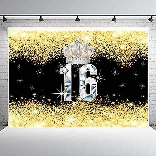 Crown Sweet 16 Birthday Party Backdrops Glitter Gold and Black Photography Background for Kids Children Vinyl 10x7ft Banner Photo Studio Props PHMOJEN LFPH266 -