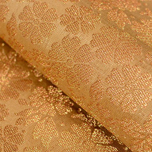 Golden Silk Cloth - Shopolics Golden large flower shape brocade silk fabric-4691, Party wear Dress Material By The Yard