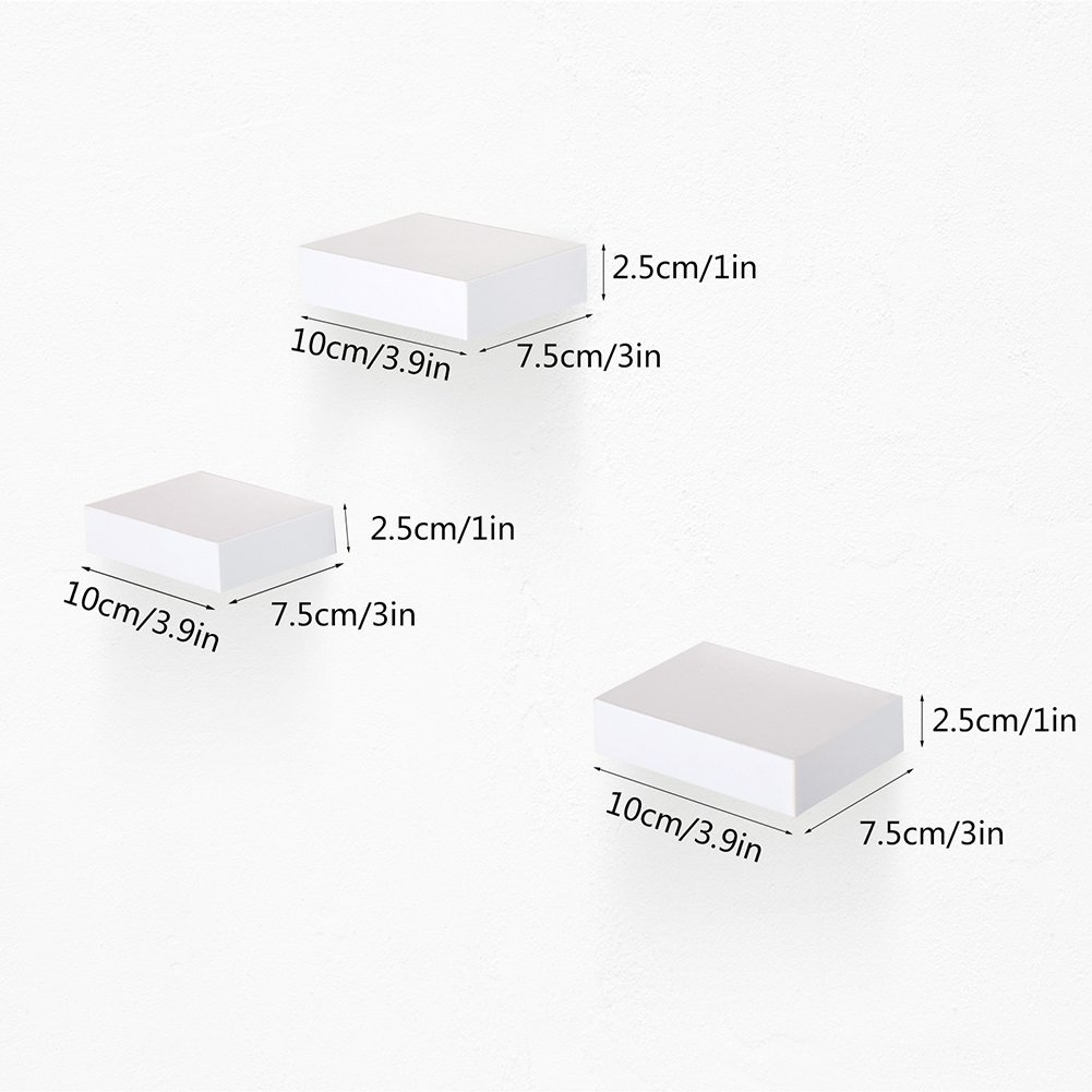 aimu Housewares Set Of 3 Floating Wooden Wall Shelves/Small Size Wall Shelves 10cm x 7.5cm -White HSJJ