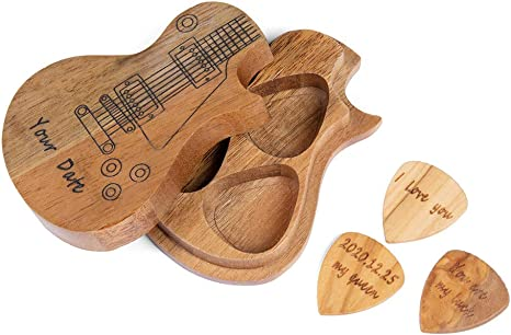 Brown Guitar Pick Plectrum Holder Keyring Case Birthday Gift For Guitarists