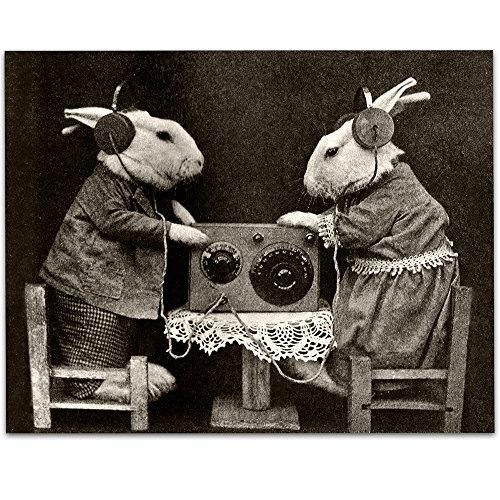 Bizarre Strange Bunnies Listening to Radio with Headphones - 11x14 Unframed Print - Perfect Studio Decor or Gift for Music -