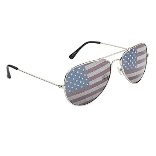American Flag Aviator Sunglasses with Silver Frames tyzsWwFu