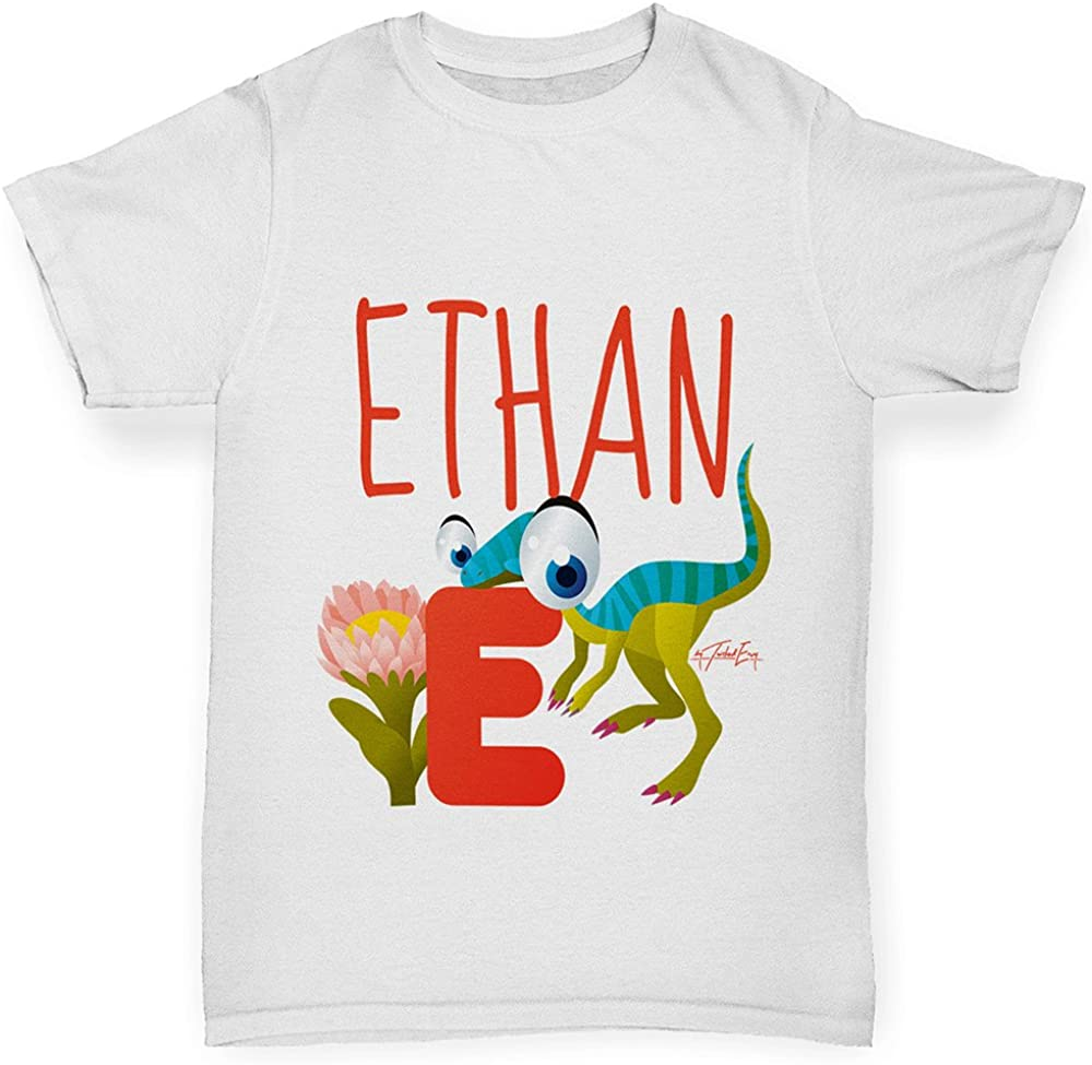 Comfortable and Soft Classic Tee with Unique Design Age 3-4 White TWISTED ENVY Boys Personalised Dinosaur Letter E Cotton T-Shirt