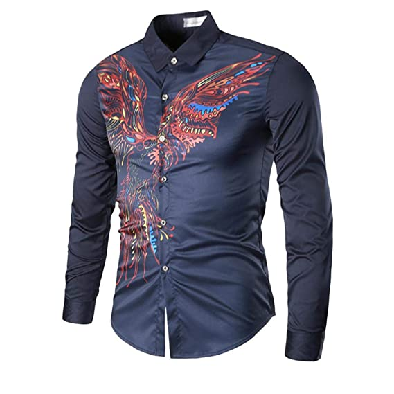 2018 Otoño Camisa De Manga Larga para Hombre Blusa con Estampada y Cuello Vuelto Camisetas Slim