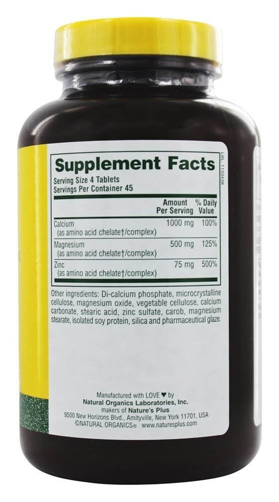 Natures Plus - Calcium/Magnesium/Zinc 1000/500/75mg, 180 Tablets: Amazon.es: Salud y cuidado personal