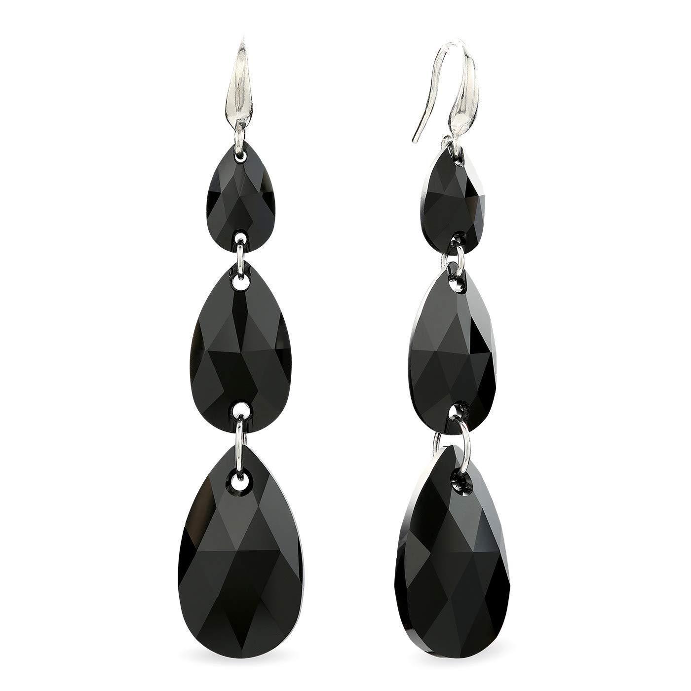 LA SENJA Pendientes lágrima de cristal negro, pendientes largos, plata de ley 925, hechos a mano
