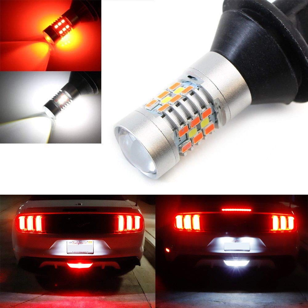 iJDMTOY (1) 28-SMD Red/White LED Bulbs For 2015-up Ford Mustang, 2011-2014 Chevy Volt As Rear Fog Light, Backup Reverse Light iJDMTOY Auto Accessories 4333258204