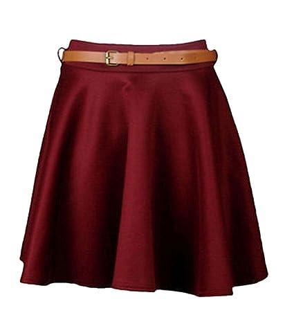 Ladies Girls Skirts Women/'s Belted Flared Plain Mini Skater Skirt Sizes UK 8-14