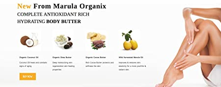 Marula Organix Body Butter 8oz Complete Antioxidant rich hydrating body Butter with Organic Coconut oil, Organic Raw Shea and Organic Cocoa butter for ultimate skin care