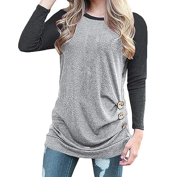❤ Camiseta de Mujer Empalme Talla Grande, Manga Larga Imperio Cintura túnica de Encaje Tops Absolute: Amazon.es: Ropa y accesorios