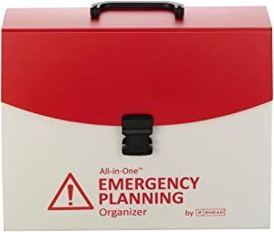 Smead All-in-One Emergency Planning Organizer with Latch Closure, 13 Pockets, Poly, Letter Size, Red/White (92011)