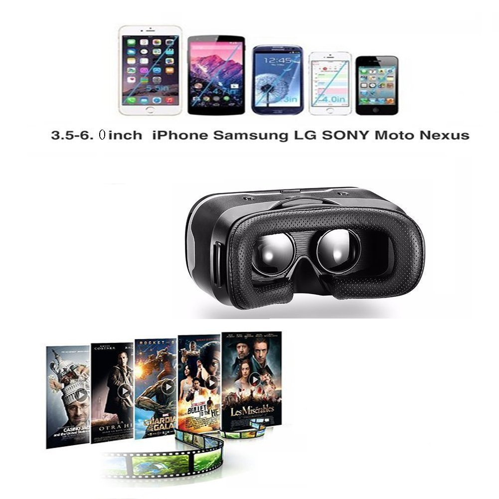 LEKAMXING VR1 Virtual Reality Headset-for Iphone X/7/6S/6Splus/6/5,Galaxy, Huawei,Google, Moto and All Android Smartphone 4.7~6.0 Inches, Adjust Stra by SHiNECON (Image #5)