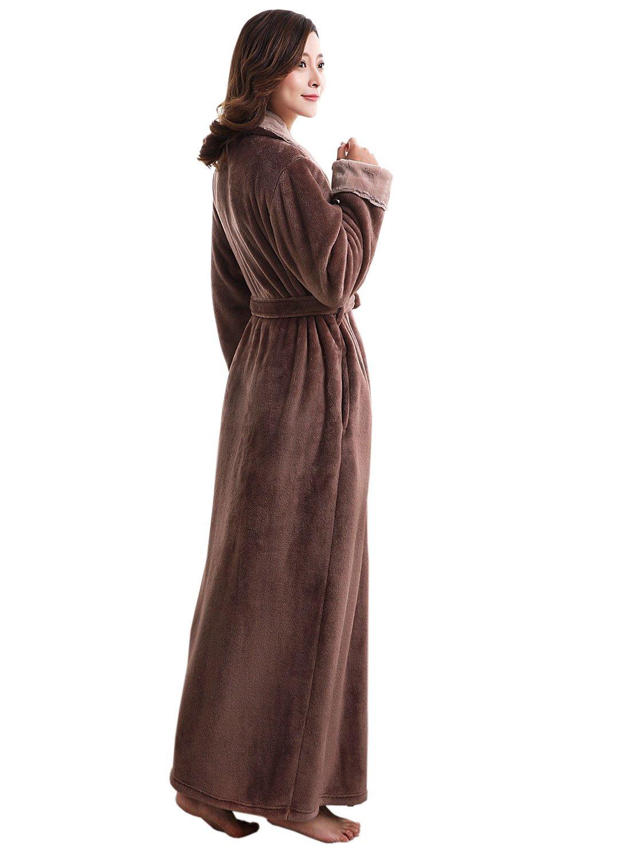 Womens Robe Soft Plush Warm Flannel Spa Long Bathrobe for Ladies Sleepwear Winter