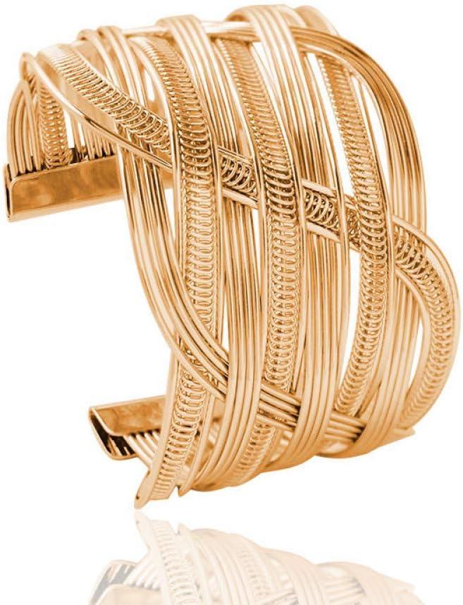 HUSHOUZHUO Oro Color Plata Metal Multicapa Hecha A Mano Alambre Trenzado Pulsera Brazaletes para Mujeres Joyas Pulseras Adornos