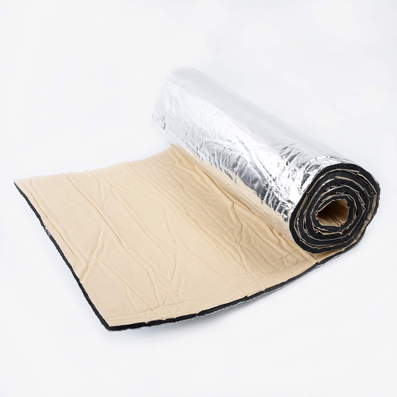 50 * 200cm Panneaux isolants de Bruit disolation Thermique de Bruit de Voiture de Papier Aluminium de 10MM pour Le Moteur//Toit//fen/être L-DiscountStore Tapis damortissement Acoustique