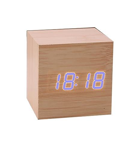 Reloj de alarma de estilo simple de madera Despertador de escritorio digital LED Reloj de sonido