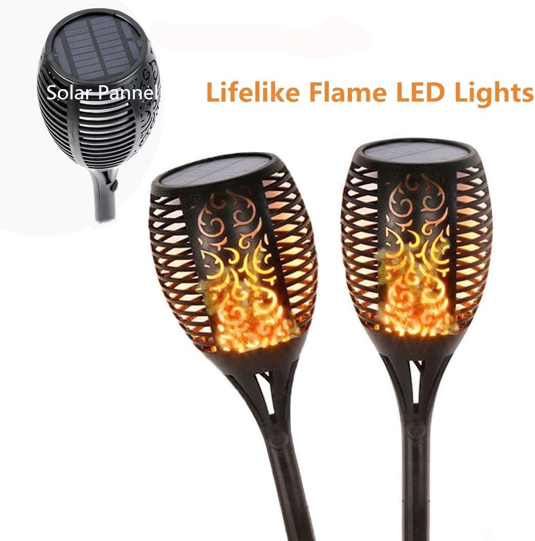 82cm Haut Ruibuy Lampes Torches Danse Flammes Jardin Eclairage Solaire Ext/érieur Deco avec LED Conception de Flamme Torch/ère Etanche pour Jardin//All/ée//Terrasse