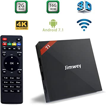 TV Box Android 7.1 2GB & 16GB Jimwey-T1 Serie X96 Plus Smart TV Procesador Rockchips RK3229 A7 Quad Core 4K UHD WiFi Android Player: Amazon.es: Electrónica