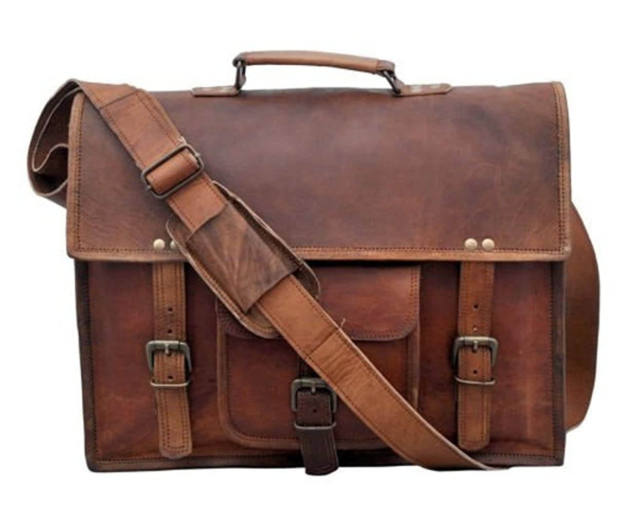 Universal Vintage Handmade Leather Full Flap Laptop Messenger Sling Satchel Bag 15X11X4 Inches Brown