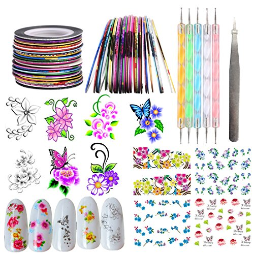 DIY Nail Art Decoration Set Kits 10 Rolls Nail Line Striping Tape Marbleizing Pen Dotting Tools Water Transfer Flower Sticker Decals Nails Manicure Tips (SET20A)