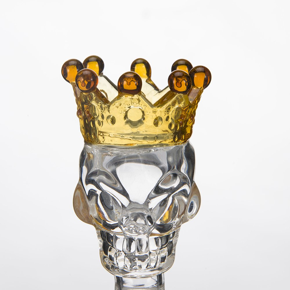 Skull Crown Glass Herb Holder Smoking Bowl 14mm Male Clear Yellow Crown