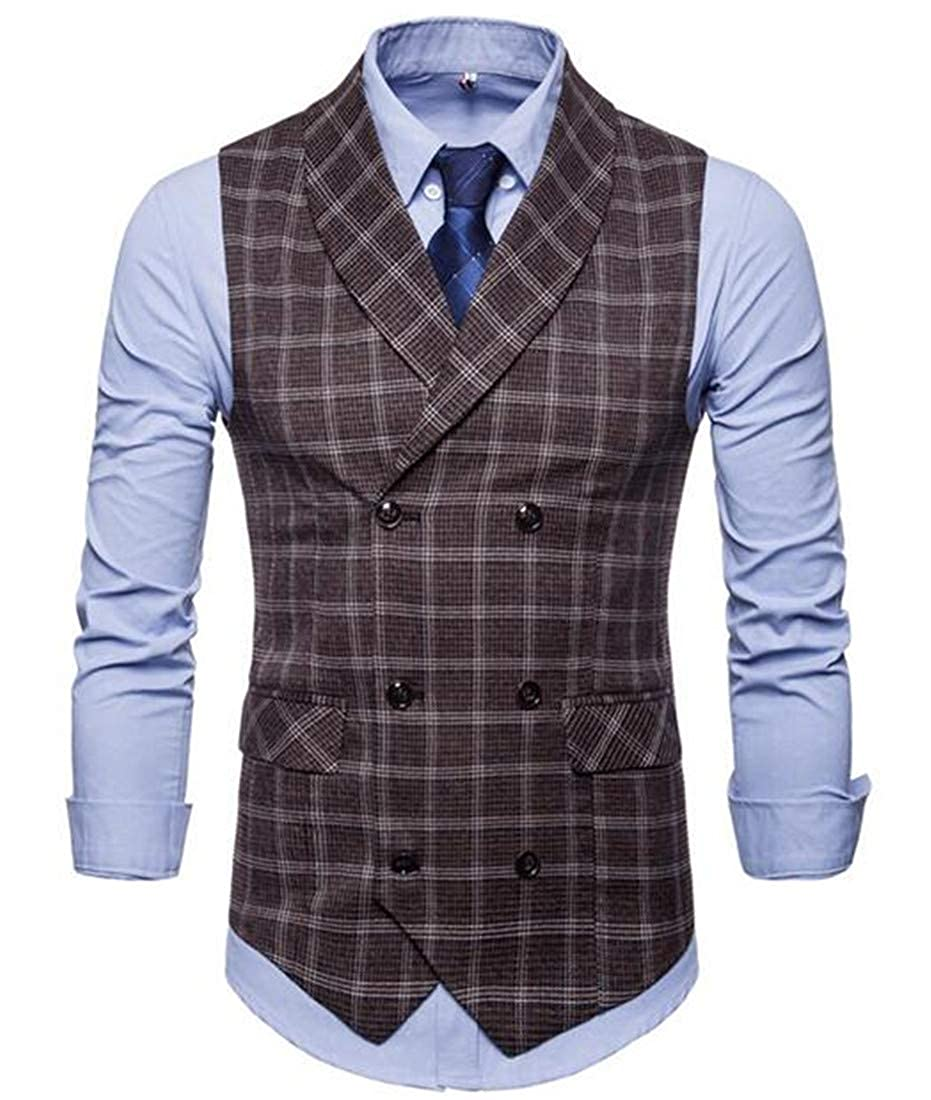 CRYYU Men Fitted Double-Breasted Casual Plaid Formal Dress Suit Waistcoat