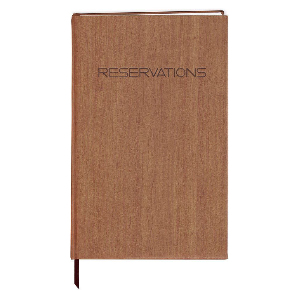 BookFactory Restaurant Reservations Book, 365 Day Table Reservations, Dinner Reservations Book, 408 Pages 8 7/8'' x 13 1/2'', Soft Touch Wood Finish Cover Case Bound (LOG-408-OCS-AXE94000(Reservations))