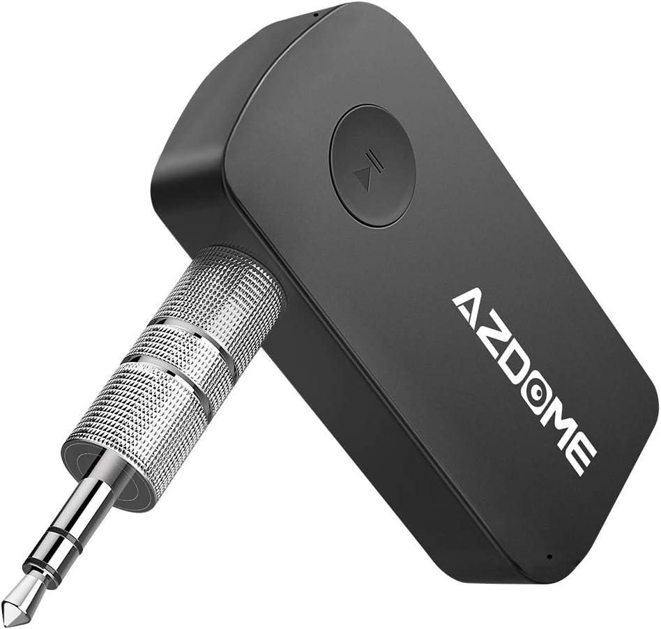 AZDOME Receptor Bluetooth Jack 3.5 USB para Coche con Manos Libres, Audio Estéreo, Mini Adaptador Inalámbrico para PC TV iPod Xiaomi MP3 Siri iPhone Android, Dock Bluetooth 4.1 Largo Alcance A2DP