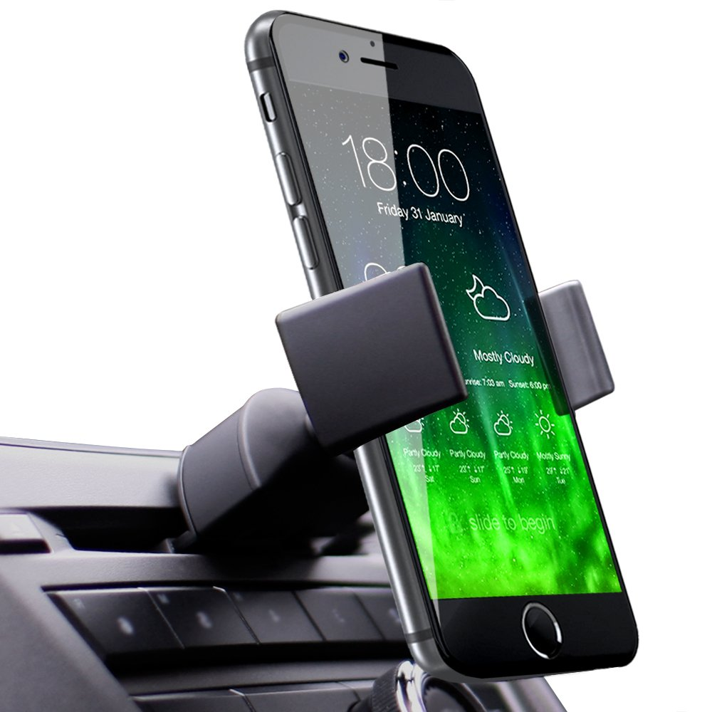 Koomus Pro CD Slot Car Mount Holder Cradle for All Smartphones - Black