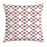 Lunarable Poker Throw Pillow Cushion Cover, Circular Pattern with Playing Card Suits Hearts and Clubs Geometric Inspirations, Decorative Square Accent Pillow Case, 18 X 18 inches, Red Black White