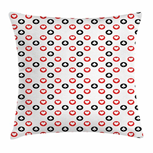 Lunarable Poker Throw Pillow Cushion Cover, Circular Pattern with Playing Card Suits Hearts and Clubs Geometric Inspirations, Decorative Square Accent Pillow Case, 18 X 18 inches, Red Black White by Lunarable
