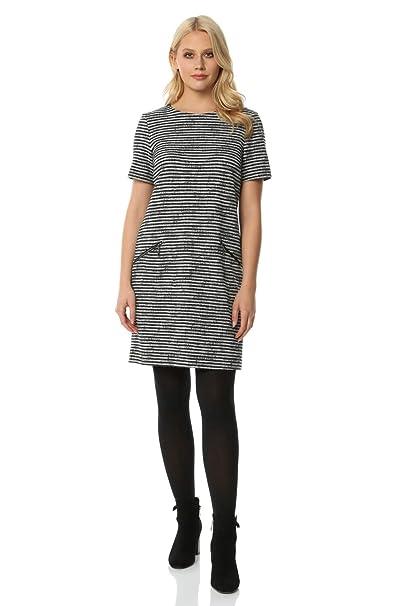 900e9f00e0b Roman Originals Women Striped Zip Pocket Detail Ribbed Dress - Ladies Smart  Casual Work Office Short Sleeve Round Neck Knee Length Mini Day Dresses  ...