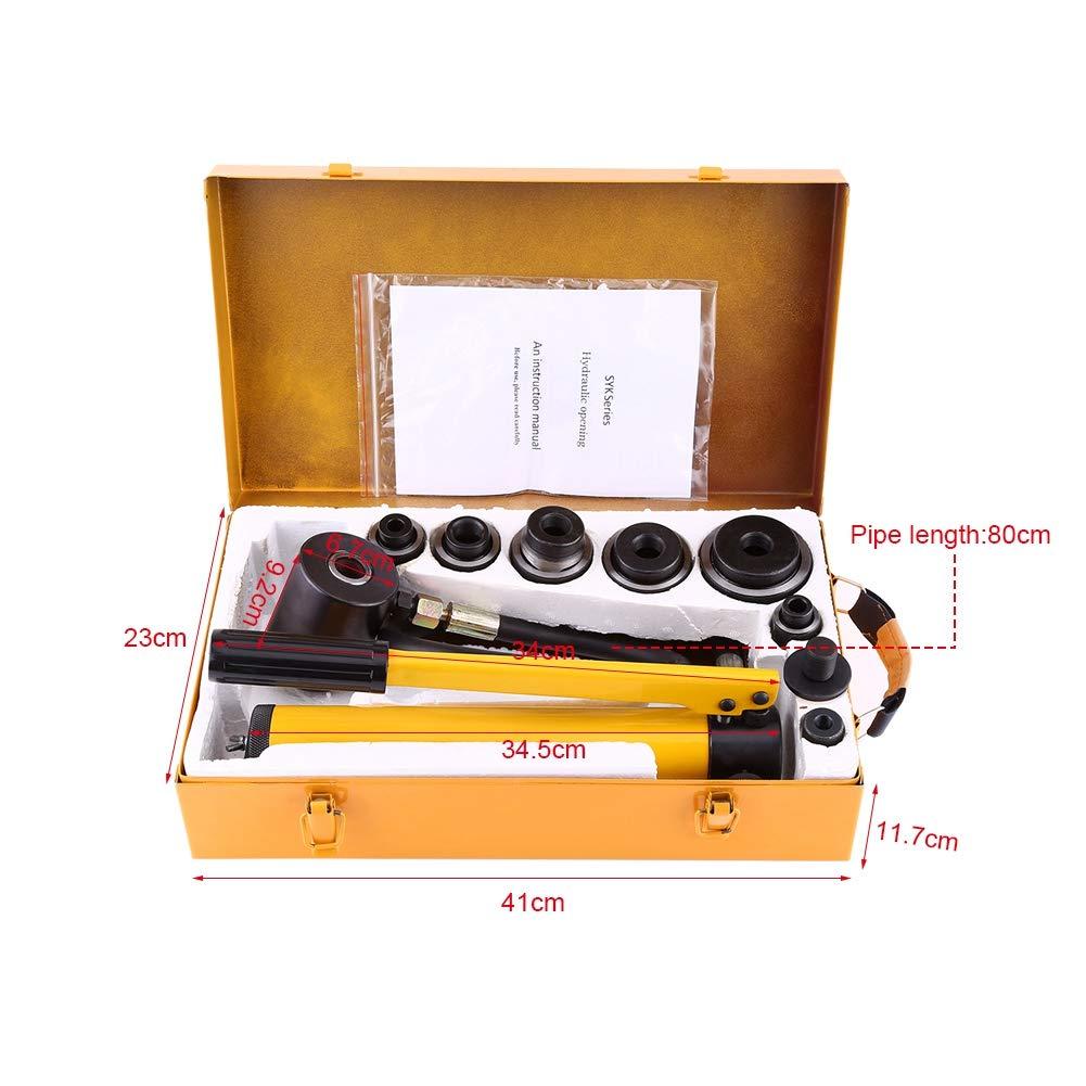 manuelle Hydraulische Handpumpe Knockout Rundloch-Set Metallbearbeitung Handwerkzeug mit 6 Stanzformen Durchmesser 22 bis Durchmesser 60 mm Hydraulisches Loch-Werkzeug