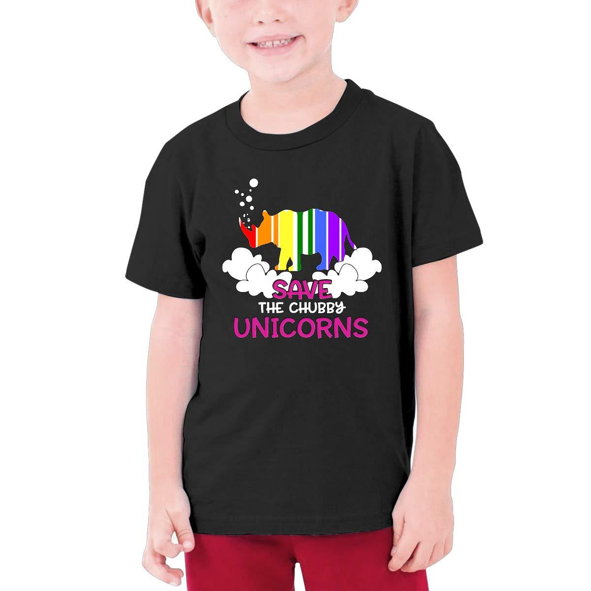 Boys Save The Chubby Unicorns Round Neck Short Sleeve T Shirt Youth Gifts
