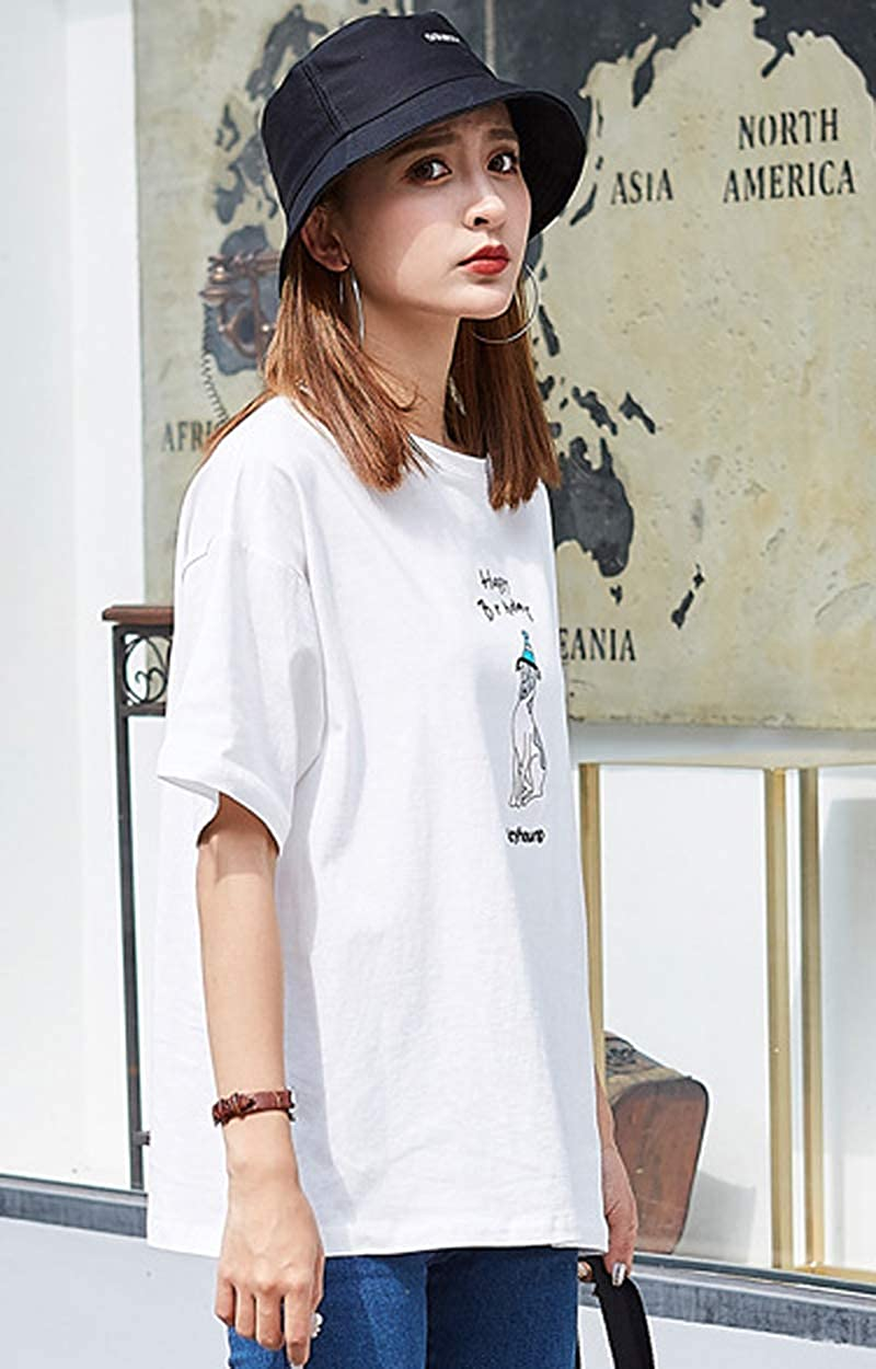 Buy Fashion Sh Women S Girl Korean Short Sleeve Loose T Shirt Summer Printing Letter Casual T Shirt At Amazon In