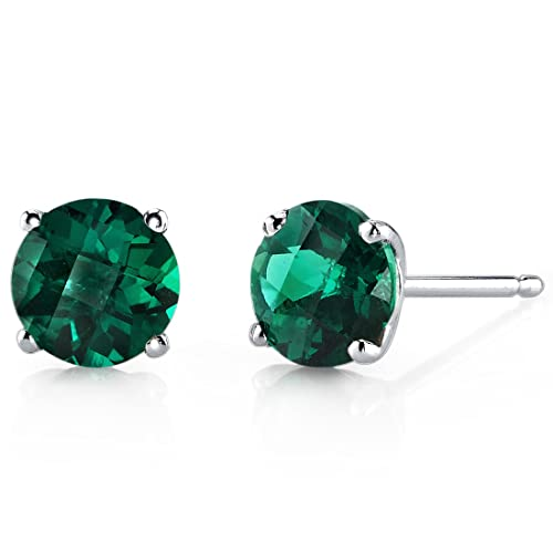 14 Karat White Gold Round Cut 1.50 Carats Created Emerald Stud Earrings