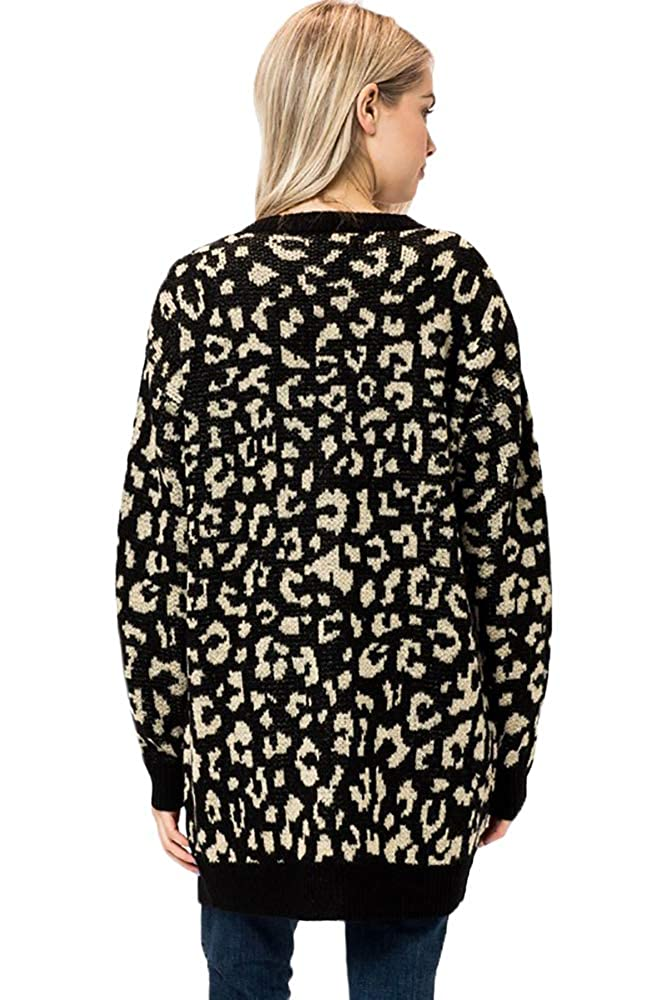 Womens Animal Leopard Print Rose Floral Filled Open Front Cardigan