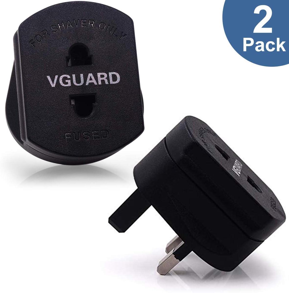 VGUARD [2-Unidades] Enchufe Adaptador, 2 Clavijas a 3 Clavijas del Reino Unido, con Fusible de 1 amperio, para máquinas de Afeitar y Cepillo de Dientes - Negro