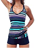 DIERDI Women's Tankini Stripes 2pcs Plus Size Swimsuit Soft Elastic Green Stripes Swimwear with Shorts