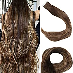 "Full Shine 14"" Remy Tape in Extensions Human Hair Balayage Ombre Color #4 Fading to #27 and #14 Highlighted With Color #4 2.5g/Pcs 50gram/Pack Balayage Tape in Remy Human Hair Extensions"