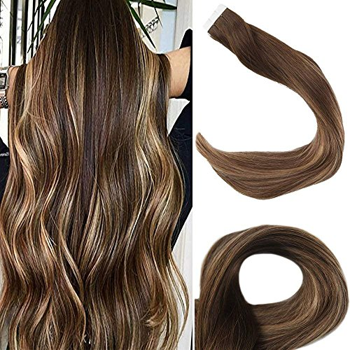 [Promotion]Full Shine 18 Glue in Extensions Human Hair Balayage Ombre Color #4 Fading to #27 and #14 Tape in Adhensive Extensions 2.5g/Pcs 50g/Pack Tape in Real Extensions