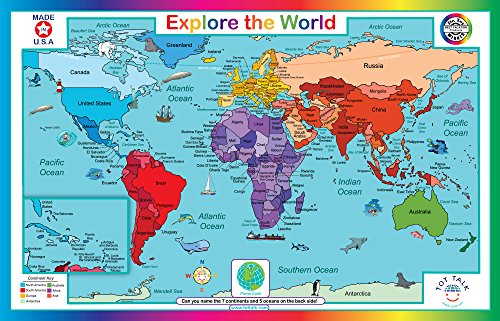 Tot Talk Explore The World Educational Placemat for Kids, Washable and Long-Lasting