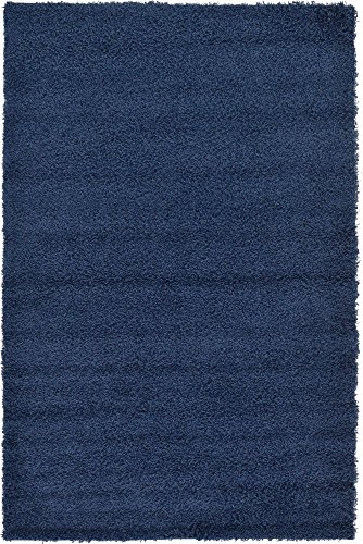 Unique Loom Solo Solid Shag Collection Modern Plush Navy Blue Area Rug (5' 0 x 8' 0) ()